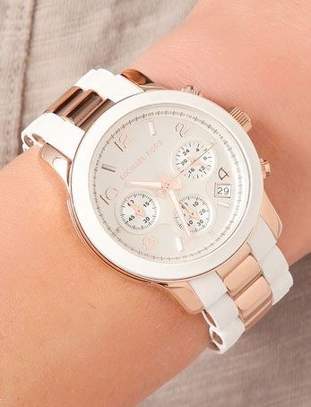 White and rose gold watch