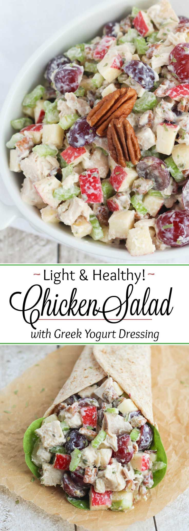 Bursting with delicious flavors and textures! This healthy chicken salad recipe has juicy grapes, crisp apples and crunchy pecans, plus a deliciously healthy Greek yogurt dressing (secret ingredient alert!). A no-mayo chicken salad recipe: perfect at summer picnics! This recipe for chicken salad with grapes is great for a weekday sandwich, but also special enough for a bridal shower, Mother's Day tea or ladies' lunch. So versatile – even serve it as an appetizer! | www.TwoHealthyKitchens.com