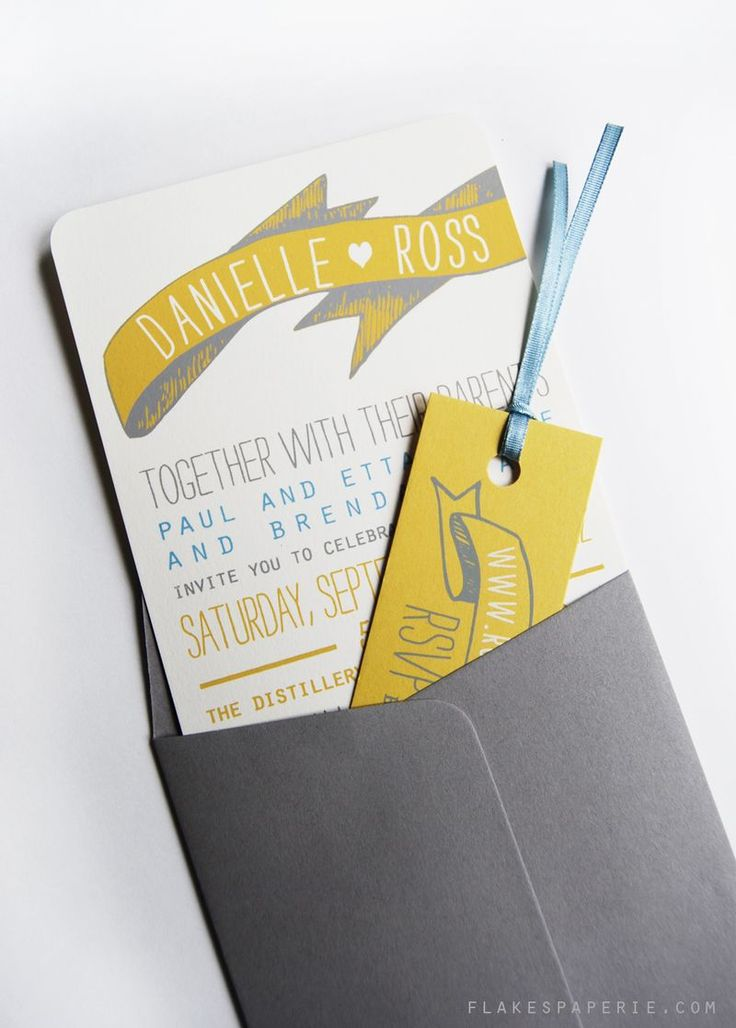 Wedding invitation by Flakes Paperie