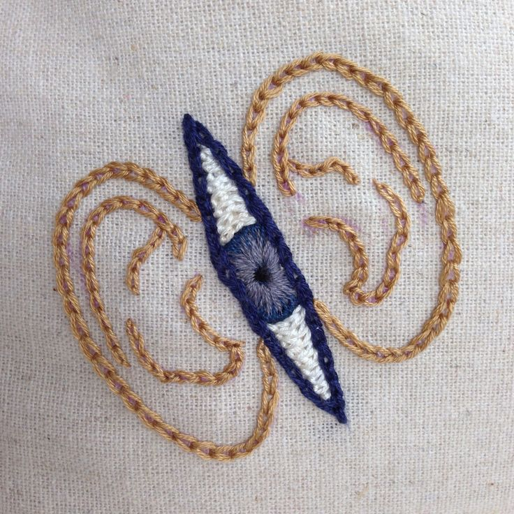 Hand embroidery by @animaytey: Sound and Vision (detail), early stages