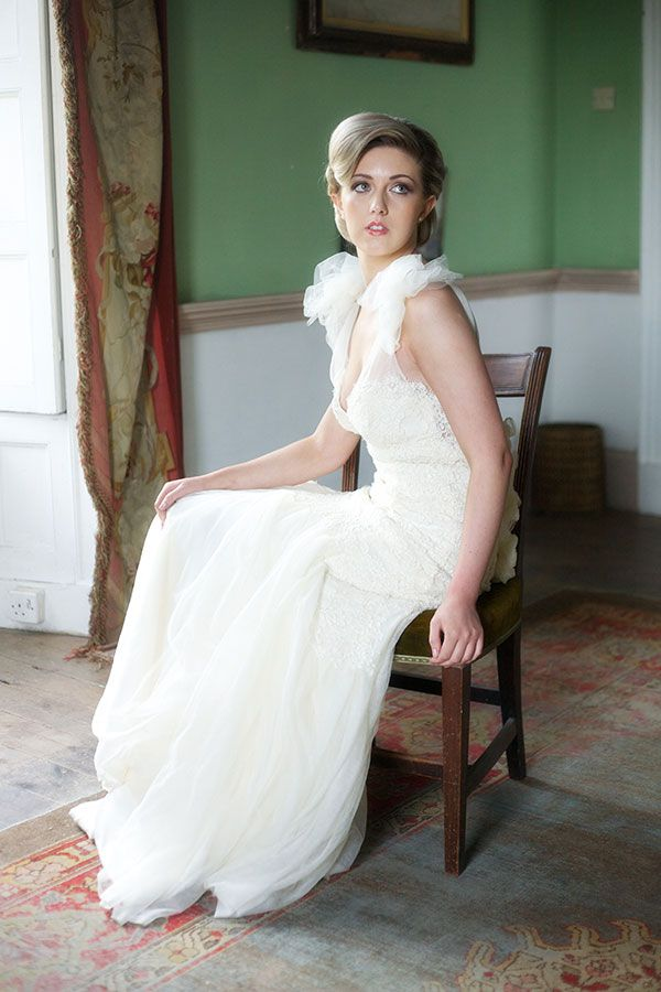 Greta - Ivory guipure corded lace and silk tulle dress, exaggerated shoulder and soft gathered tulle shirt. http://www.jendoherty.com/Catalog/Dresses/another-product