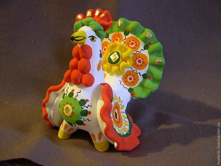 Дымковская игрушка,петух--Dymkovskaya toy cock