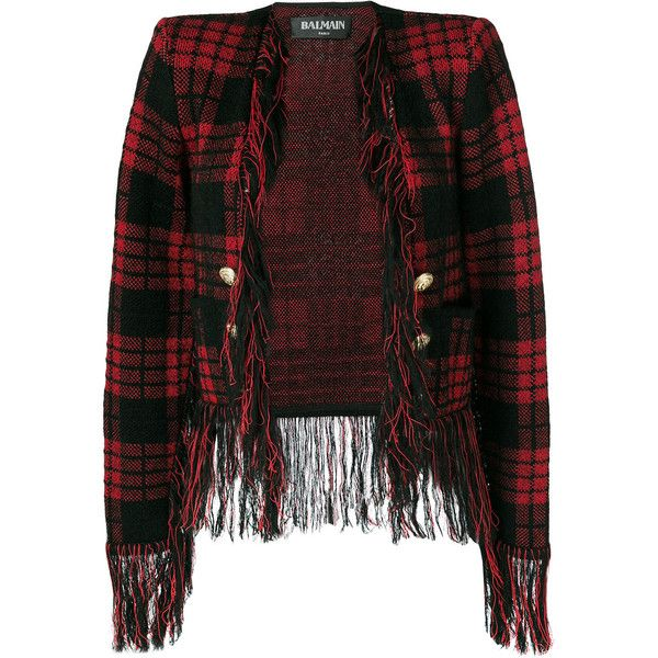 Balmain Blend Wool Checked Jacket With Fringes ($1,605) ❤ liked on Polyvore featuring outerwear, jackets, red, red jacket, military blazer, wool blazer, military jacket and red checkered jacket