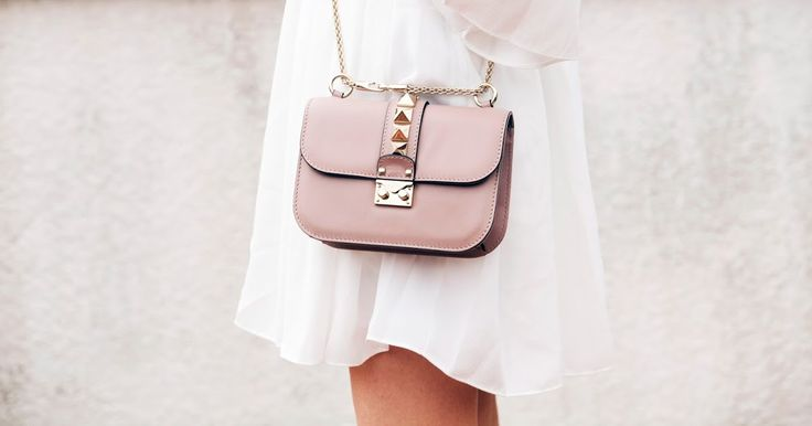 Nude Valentino Glam Lock Studded Crossbody Bag in small