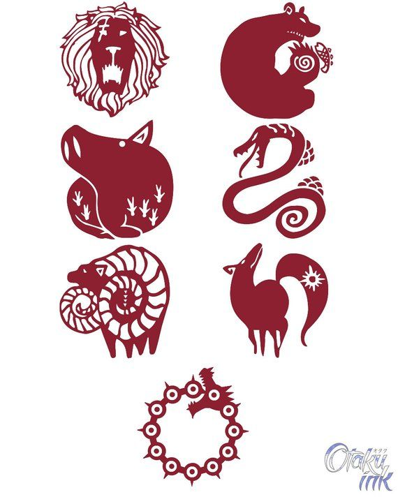 The Seven Deadly Sins Cosplay Temporary Tattoos By Otaku Ink Seven Deadly Sins Tattoo Seven Deadly Sins Symbols Seven Deadly Sins