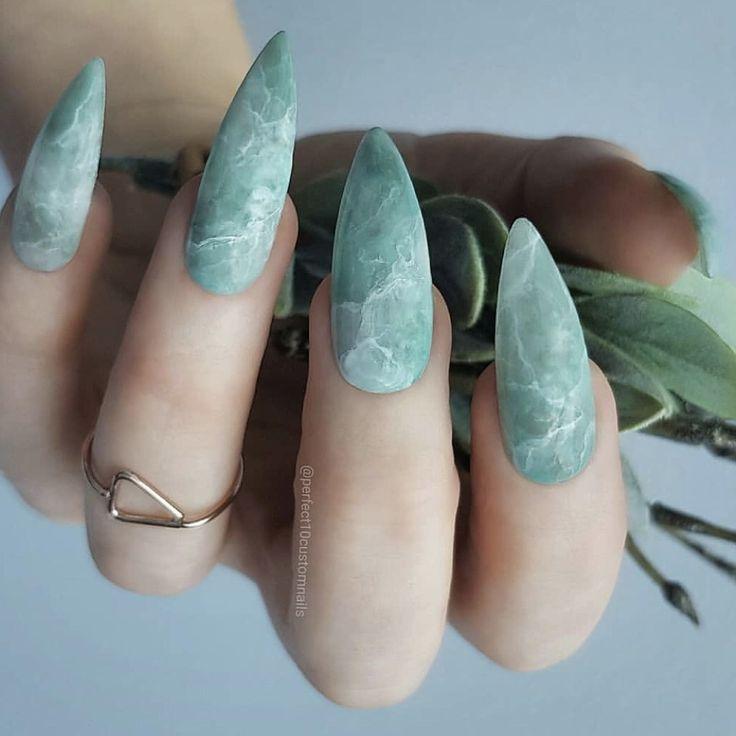 Green Marble Nails Jade Nails Gorgeous Nails Cute Acrylic Nails