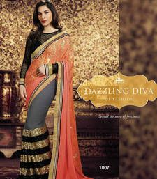 Buy orange & grey embroidered georgette saree  with blouse party-wear-saree online
