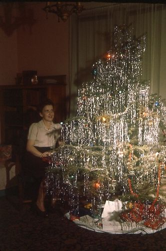 Mama would love this tree, could never have enough decorations on the tree! Along with tinsel and garland. Kodachrome Christmas