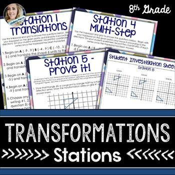 This resource includes six stations involving geometric transformations. Includes a grid and manipulatives for students to use in completing the stations.  Stations Included : Station 1: TranslationsStation 2: Reflections Station 3: RotationsStation 4:  Multi Step TransformationsStation 5:  Prove It!