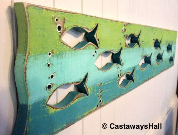 Wood School of Fish Art Sign Panel Horizontal Sea Glass or Driftwood Colours Beach Lake House Decor Cabin Cottage by CastawaysHall This purchase price is for ONE horizontal panel only in the colours of your choice. Two are shown in the picture for display purposes only, but you will receive one unless you choose more in the quantity options. You may choose more in the quantity options. Also available as a vertical panel in my other listings. Made to order - Please allow up to 10 business…