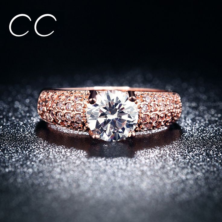 18K Rose Gold Plated Rings for women Trendy vintage Engagement Rings Fine Jewelry Accessory 18KR003