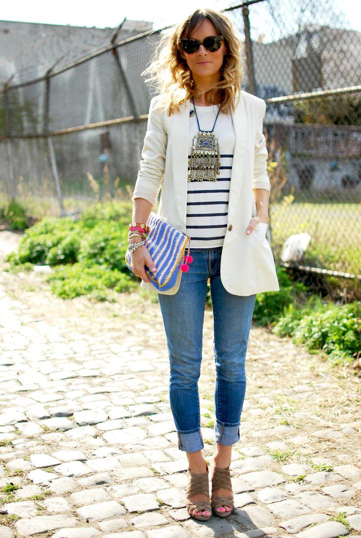 white blazer, stripes, statement necklace, rolled up denim