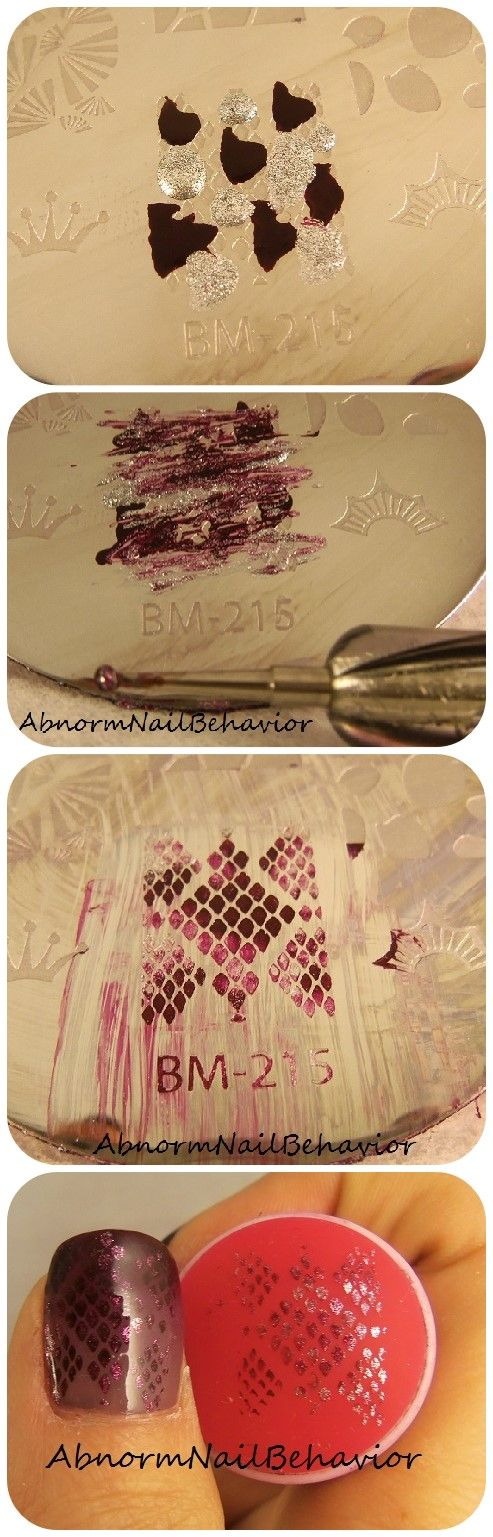 How to get a multicolored effect with a nail stamper abnormnailbehavior.blogspot.com  #Nailstamping #nails #purplepolish #nailtutorial