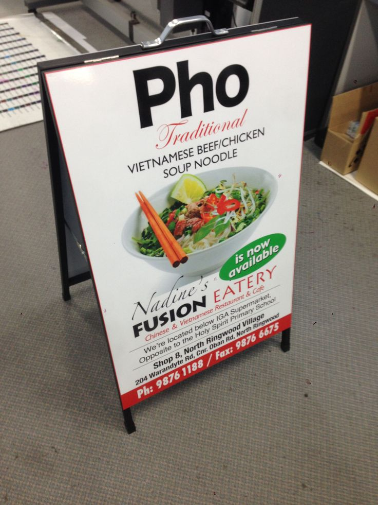 A-Frame Sign designed, printed and applied by Sign A Rama Box Hill for Nadine's Fusion Eatery in North Ringwood.
