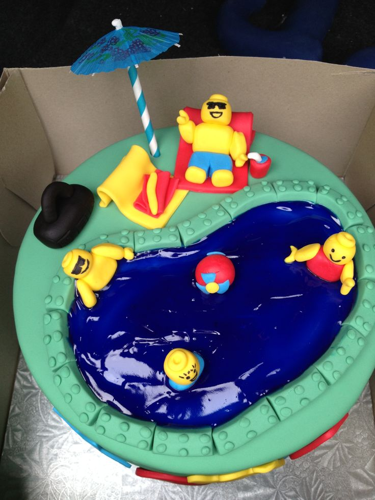 10 best johns pool party images on pinterest birthdays lego lego pool party cake from the top sciox Choice Image