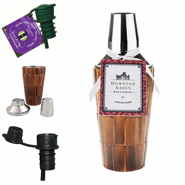 Downton Abbey Cocktail Shaker Wood Bar Ware Gift Set Bonus Haleys Wine Corker 2p