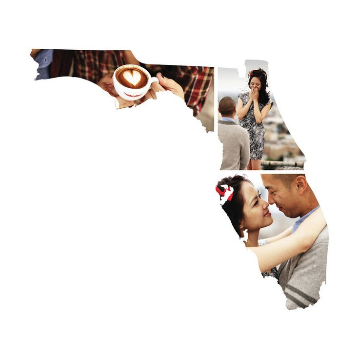 State shaped photo collage. Perfect for bridal shower, wedding or housewarming gift! [Love Location Florida by Heather B for Minted]