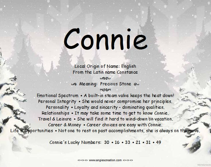 Connie - Name Meaning | Angies Creation | Names with ...