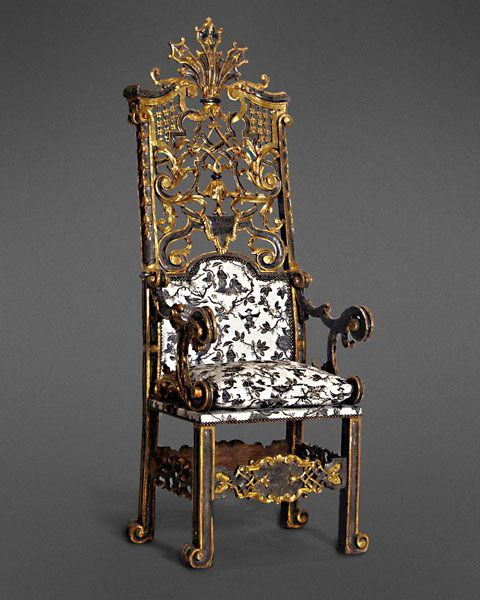 Silver and Gold Venetian Arm Chair  - intricately carved foliation and chiniserie inspired, pierced lattice, Venice, ca 1725 ~ from Richard Shapiro, Antiques & Works of Art