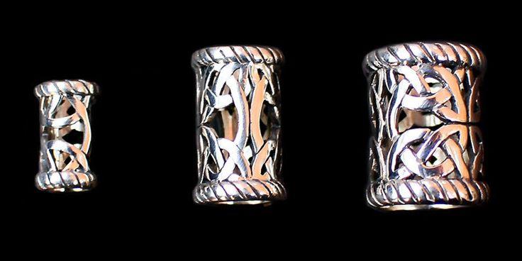 Openwork Viking Beard Rings/Dwarven Beard Beads. Medium silver size