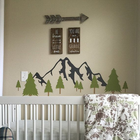 Mountain Tree Decal Pine Trees Decal Forest by GetCreativeStudios