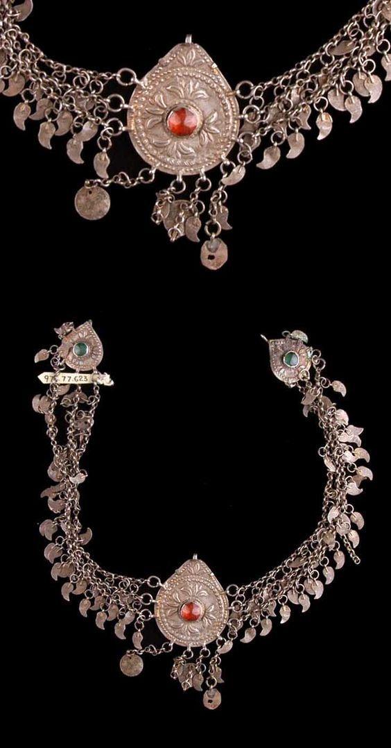 Turkey - Bursa - Woman's headdress ornament. silver and glass.