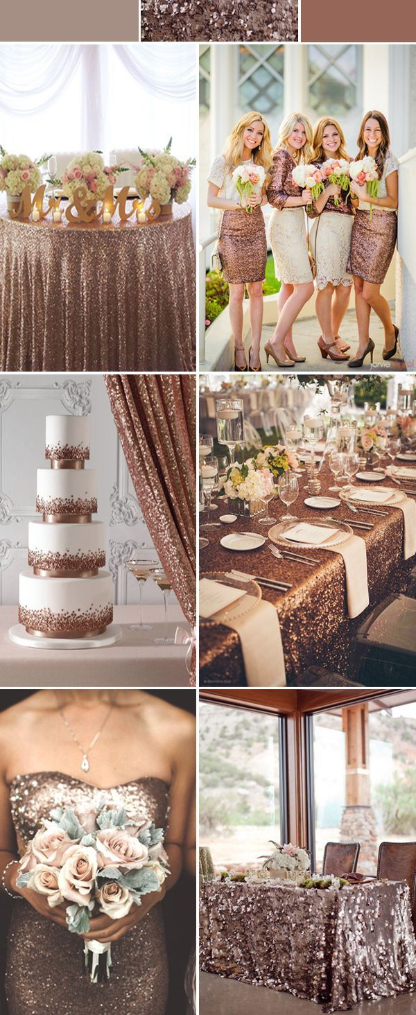 Sparkly/glitter/bling destination wedding ideas using everything sequin! Love the bridesmaids dresses, cakes and table covers!