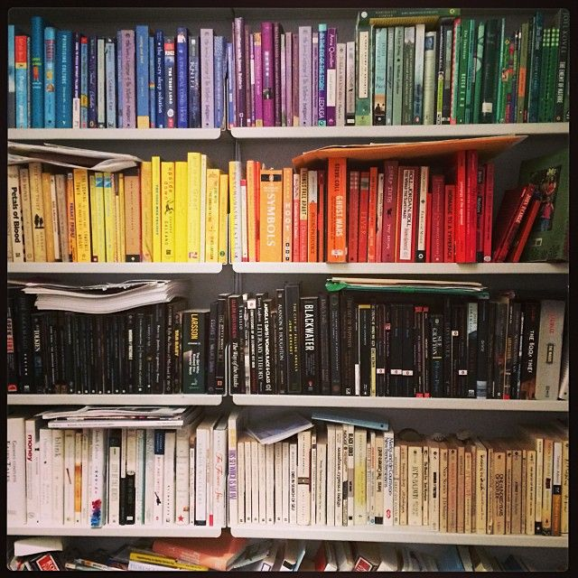 Color-coded bookcase.
