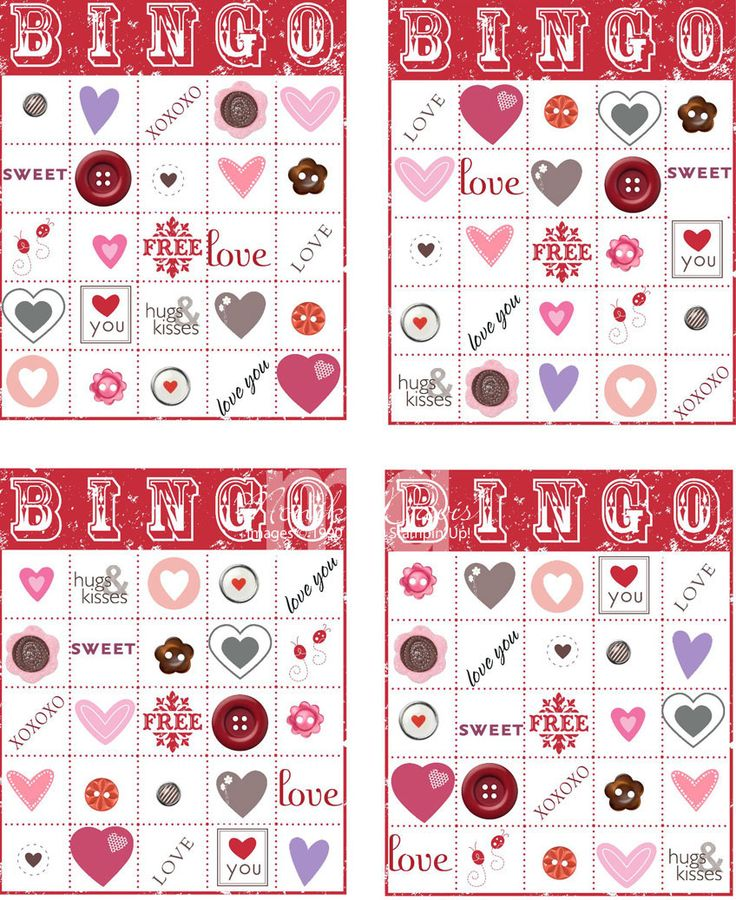 bingo cards free printable activity for kids and toddlers on valentines day - Valentine Bingo Cards
