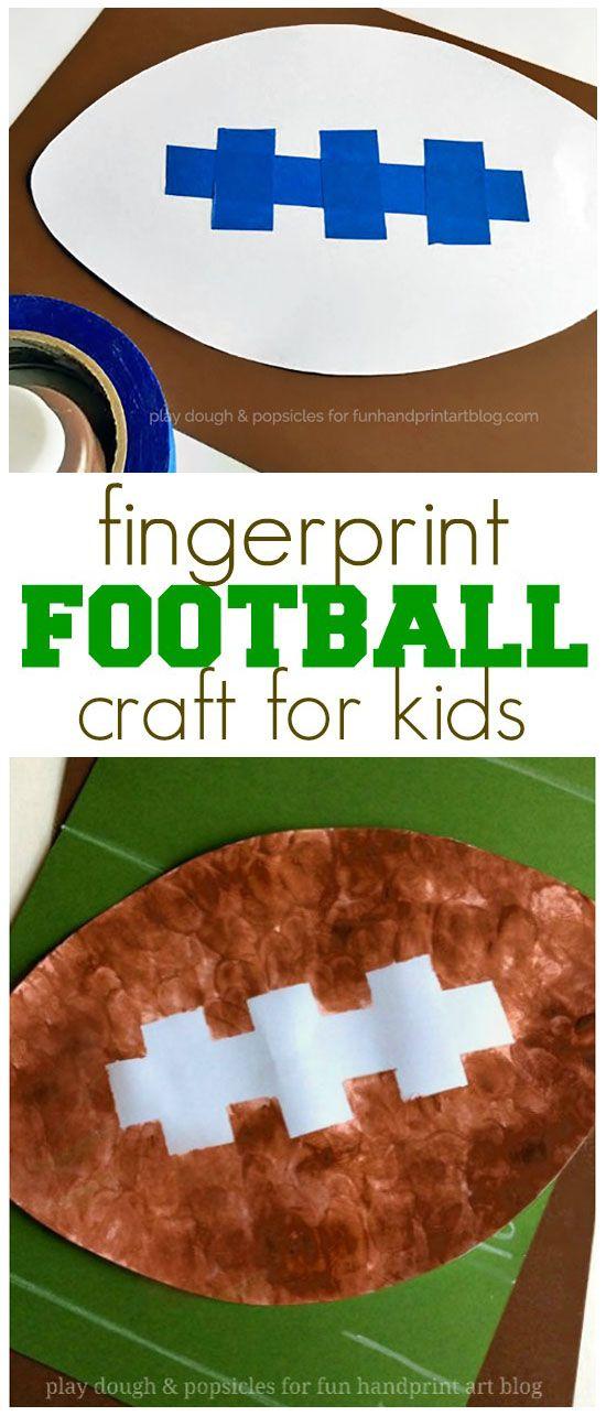 Tape Resist Fingerprint Football Craft   Superbowl Kids Activity