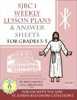 Coming in Fall 2017, a complete study guide and resource packet for use with the Saint Joseph Baltimore Catechism I (Grades 3-5).  Each packet includes a week of work per lesson, answer sheets for problems in the book, catechism copy work, and vocabulary activities for Catholic terms. *****If you like this sample and want to know when the remaining 36 lessons are ready for purchase, BE SURE TO FOLLOW the OLG CREATIONS store page at TpT for updates on product availability.Feedback on my…