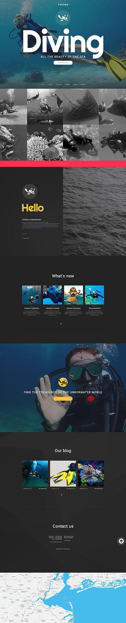 Template 56045 - Diving Sport  Responsive Website Template