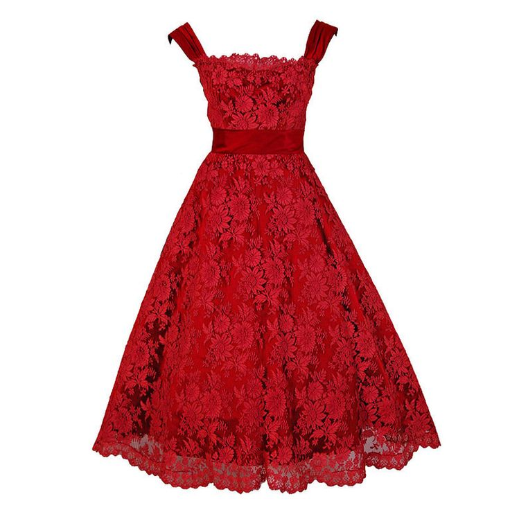 1950's Harvey Berin Red Chantilly Lace & Satin Scalloped Full Dress