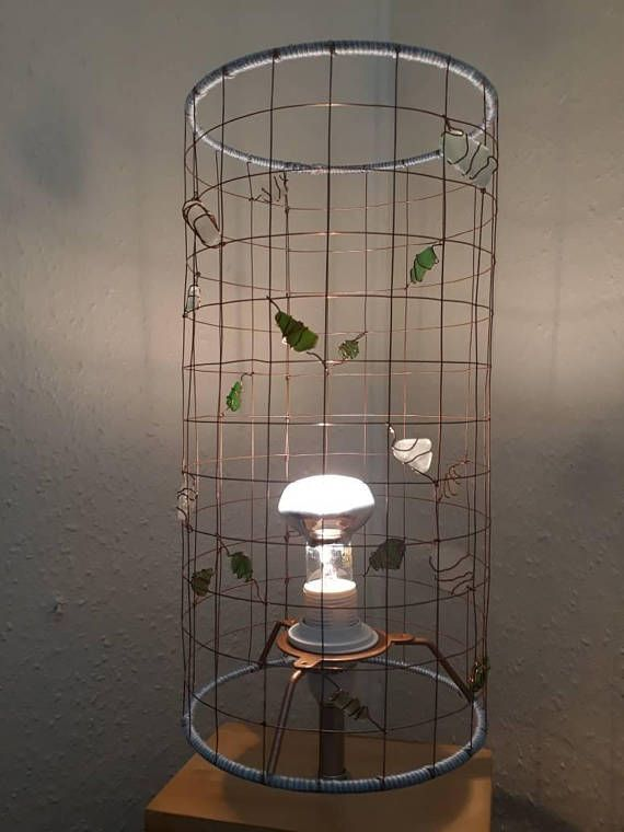 The 25 best wire lampshade ideas on pinterest quirky home decor a beautiful copper coloured wire lampshade decorated with sea glass collected on the devon coast each piece of sea glass is attached using copper wire and greentooth Gallery