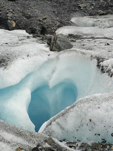 Ice heart - hearts in nature -- Shape of a heart carved out by rocks on Worthington Glacier Valdez, Alaska   jenna_kimberly
