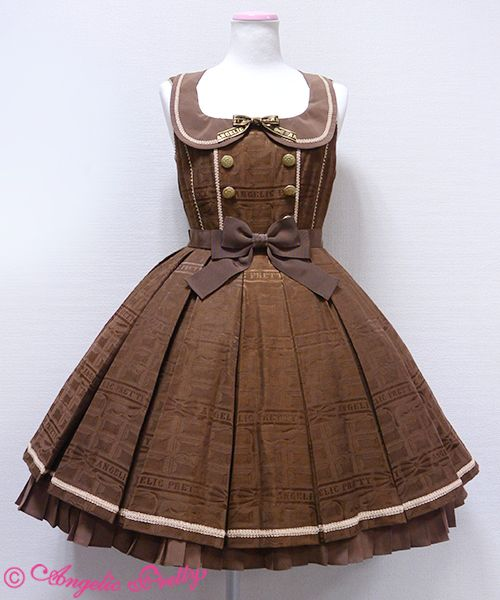 """Angelic Pretty """"Melty Ribbon Chocolate"""" collared JSK in brown. I love all the colorways for this print!! A dream dress for sure."""