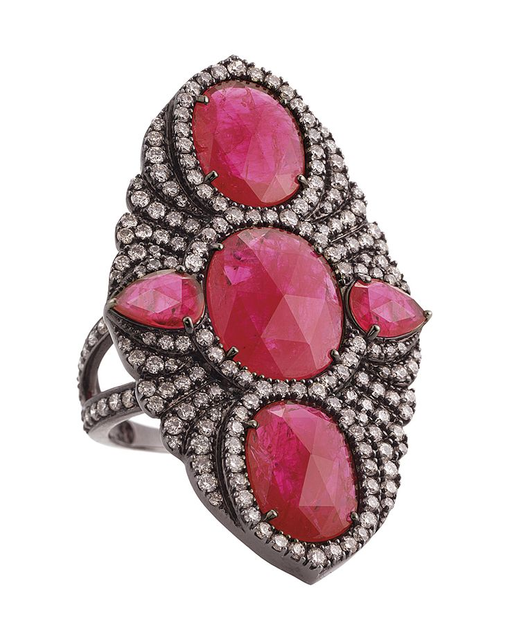 Sutra ring in 18ct yellow gold with 9.75ct Gemfields Mozambican rubies and 2.07ct diamonds.