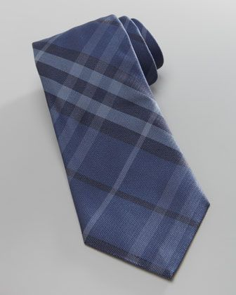 Check Silk Tie, Blue by Burberry at Neiman Marcus.