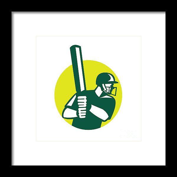 Icon Framed Print featuring the digital art Cricket Batsman Batting Icon Retro by Aloysius Patrimonio