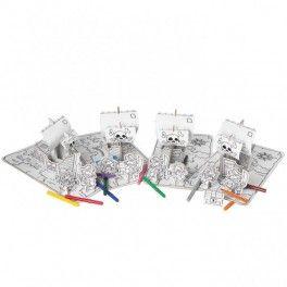 Set pirate X4 à assembler et colorier avec 12 feutres. Kits créatifs anniversaire pirate.