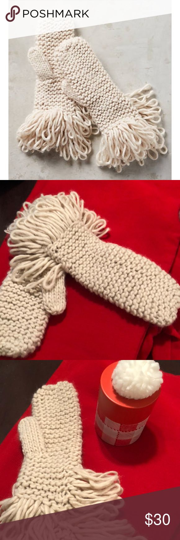 Anthropologie loop mittens 🎅🏻☃️❄️ So fun!  🤶🏻🎅🏻 great gift item!  Knitted looped cream mittens.  Still swift tagged.  I️ loved them so much I️ bought three color ways!  Need to scale down my winter accessories. 🙄 Anthropologie Accessories Gloves & Mittens