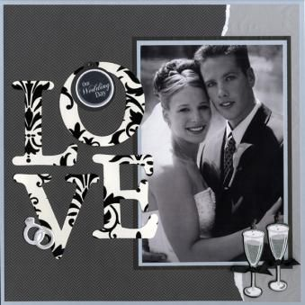 Wedding Scrapbook - Letters from any co-ordinating DSP can be used to personalise text.
