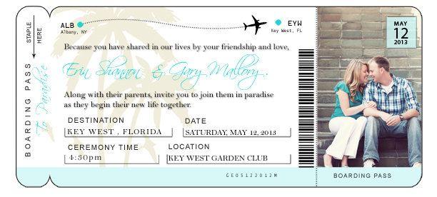 diy airline ticket invitation   25 00  via etsy