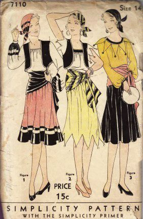 1930s Vintage Simplicity Pattern for Halloween Gypsies Costumes
