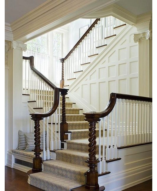 stairs design - Love the molding work on the wall going up the stairs. Gives me an idea for our entry.