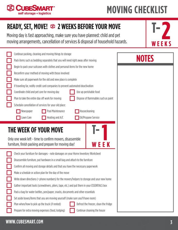 Moving Timeline Checklist    Weeks  Cubesmart Self Storage