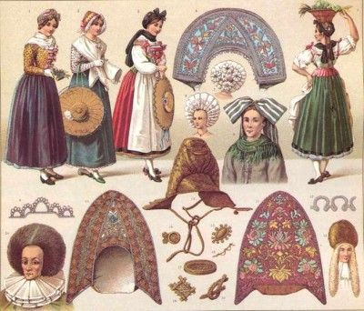 Traditional Costumes of 1800s of Alsace-Lorraine