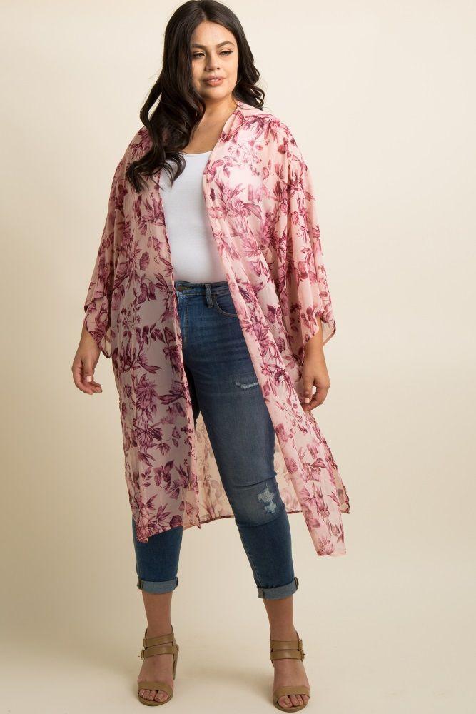 696bd1bae19 Floral print long plus size kimono. Side slits. Bell sleeves.