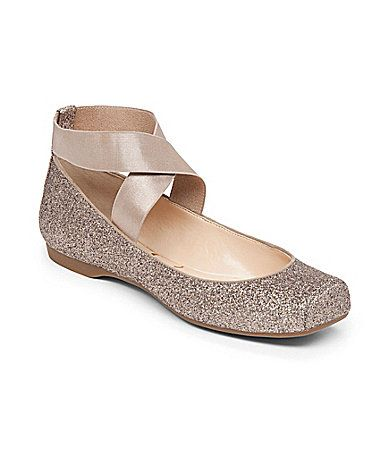 I am so glad that she came out with a sparkly one this year! Jessica Simpson Mandalaye Strappy SquareToe Ballet Flats #Dillards
