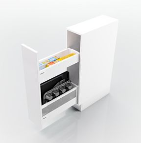 Narrow cabinet for cooking and baking utensils